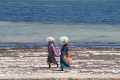 African women working in Zanzibar, Tanzania. African women walking on the beach , Zanzibar, Tanzania. East Africa Stock Image
