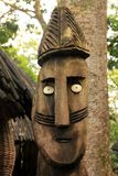African wood carving. Close up of an african wooden totem Stock Photos