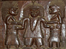 African Wood Relief Carving Yoruba Stock Photos