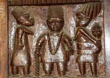 African Wood Relief Carving Yoruba Royalty Free Stock Photography