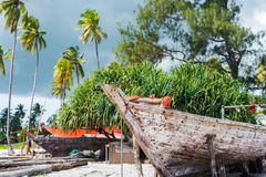 African wooden boat stern with palms and sky on the background Royalty Free Stock Images