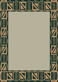 African wooden frame. Wooden frame including ethnic African stripe with geometrically typical elements Stock Photo