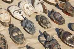 African wooden mask. On the street market Royalty Free Stock Photography