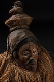 African wooden masks. With hair. On black background stock image