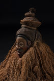 African wooden masks. With hair. Stock Photo