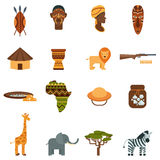 African world flat icons set Royalty Free Stock Images