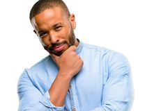 African young man isolated over white background. African american man with beard thinking thoughtful with smart face isolated over white background Stock Photo