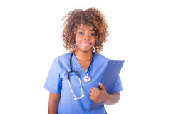 African young nurse isolated on white background Stock Photo