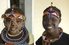 Beautiful african tribal Woman and Girl. African young woman and cute child in Zambia with typical tribal painted faces and garbs of their tribe Royalty Free Stock Image