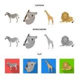African zebra, animal koala, giraffe, wild predator, lion. Wild animals set collection icons in cartoon,flat,monochrome. African zebra,animal koala, giraffe Royalty Free Stock Photography