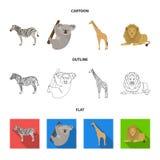 African zebra, animal koala, giraffe, wild predator, lion. Wild animals set collection icons in cartoon,outline,flat. African zebra,animal koala, giraffe, wild Royalty Free Stock Photo