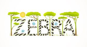 African Zebra Animals Fun Lettering Cartoon Royalty Free Stock Images
