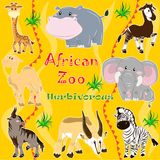 African zoo. Herbivorous animals. A set of illustrations of herbivorous animals living in Africa Royalty Free Stock Photography