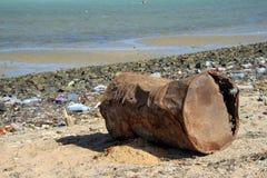 在Africanl海滩的污染 免版税库存照片