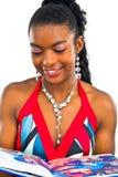 Africanlady novo com um livro Foto de Stock Royalty Free