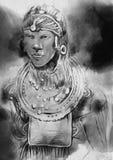 africano Retrato - uma mão tirada, ilustração pintada Enegreça a Foto de Stock