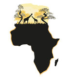 Africano Safari Map Silhouette Fotos de archivo libres de regalías