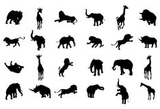 Africano Safari Silhouette Animal Imagenes de archivo