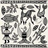 Africano Senufo Korhogo Art Elements Vector Fabric Design étnico tribal stock de ilustración