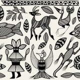 Africano Senufo Korhogo Art Seamless Pattern étnico tribal stock de ilustración