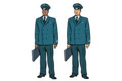 Africano y caucásico los pilotos de la aviación civil stock de ilustración