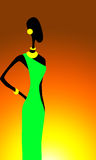 Africans motifs. Picture of african woman in green dress on sunset vector illustration