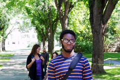 Africian University student. On campus stock photography