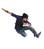 Africna American Dancer. African American hip hop dancer jumping over white backgroun Stock Image