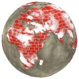 Afrika auf Backsteinmauer Erde Stockfotografie