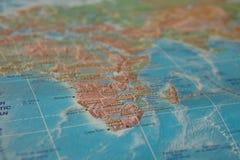 Afrika auf der Karte Afrika auf der Weltkarte Stockfotografie