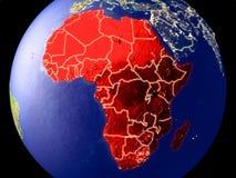 Afrika auf Erde nachts vektor abbildung