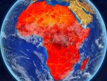 Afrika auf Erde vom Raum lizenzfreie abbildung