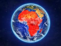 Afrika auf Erde vom Raum stock abbildung