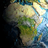 Afrika auf körperlicher Karte morgens vektor abbildung