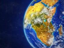 Afrika auf Kugel mit Grenzen stock abbildung