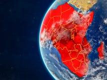 Afrika auf Kugel vom Raum stock abbildung