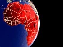 Afrika auf Nachterde stock abbildung