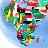 Afrika auf politischer Kugel mit Flaggen Lizenzfreie Stockfotografie