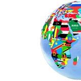 Afrika auf politischer Kugel mit Flaggen Stockfoto