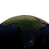 Afrika bij nacht op model van Aarde met in reliëf gemaakt land Royalty-vrije Stock Foto