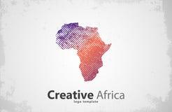 afrika Creatief embleemontwerp kaart Stock Afbeeldingen