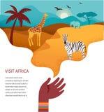 Afrika-Fahne, Vektorillustration der Safari, Tiere, Stammes- Symbole stock abbildung