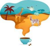 Afrika-Fahne, Vektorillustration der Safari, Tiere, Stammes- Symbole vektor abbildung