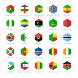 Afrika flaggasymboler Sexhörningslägenhetdesign Arkivfoto