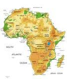 Afrika-fysieke kaart royalty-vrije illustratie