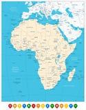 Afrika högt specificerad översikt och färgade översiktspekare Royaltyfri Fotografi