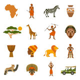 Afrika-Ikonen eingestellt stock abbildung