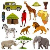 Afrika-Ikonen eingestellt lizenzfreie abbildung