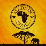 Afrika-Illustration mit Baum- und Elefantschattenbild vektor abbildung