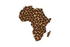 Afrika - Karte der Kaffeebohne Lizenzfreies Stockfoto